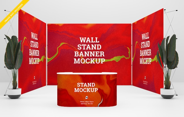 Trade show banner stand mockup. template psd.
