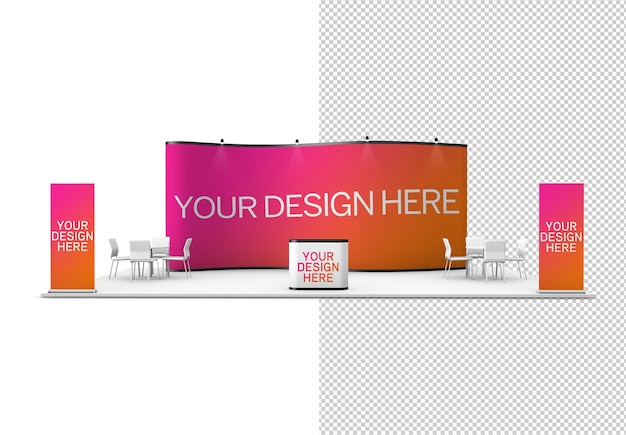 Trade show exhibition stand isolated mock up