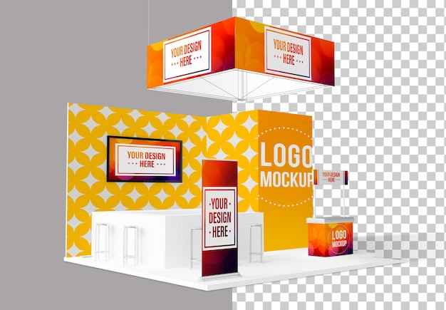 Trade show exhibition stand isolated mockup