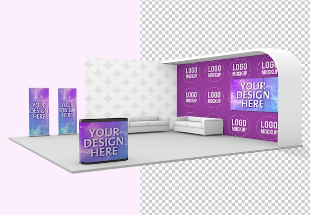 Trade show exhibition stand mockup isolated