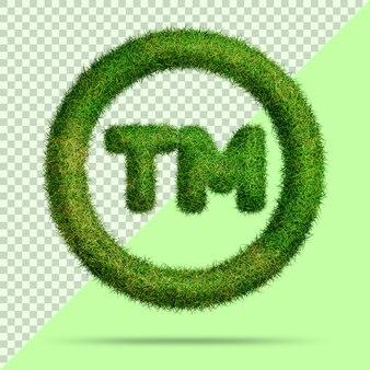 Символ торговой марки с реалистичной 3d травой