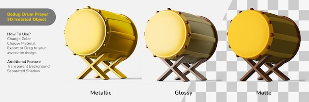 Традиционный постельный молитвенный барабан 3d дизайн-объект изолированный создатель сцены