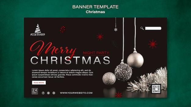 Traditional christmas horizontal banner template