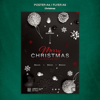 Traditional christmas vertical print template