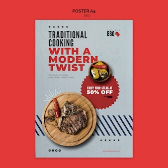 Traditional cooking bbq flyer template