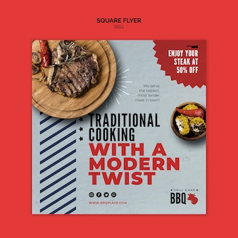 Traditional cooking bbq square flyer template