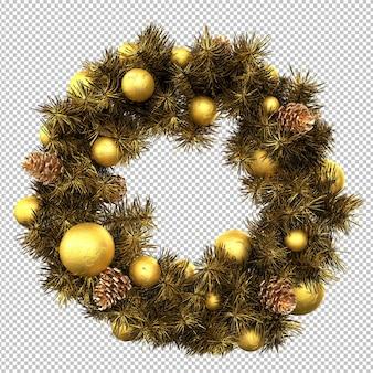 Традиционный золотой рождественский венок. изолированный. 3d-рендеринг