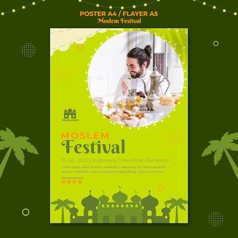Шаблон флаера традиционного мусульманского фестиваля
