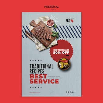 Traditional recipes bbq flyer template