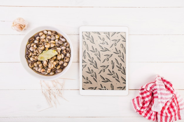 Traditional spanish food mockup with tablet