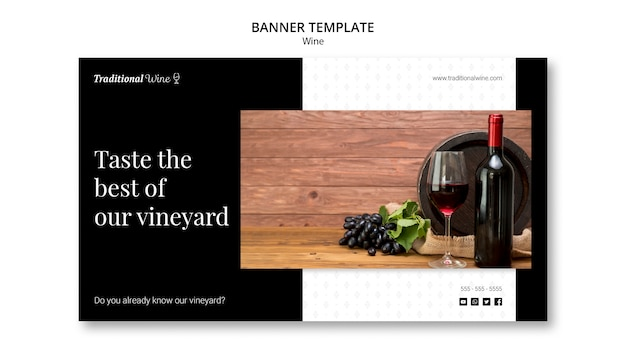 Traditional wine banner template design