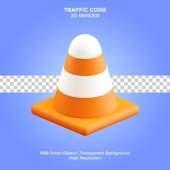 Изолированная иллюстрация дорожного конуса 3d-рендеринга премиум psd