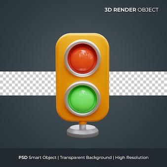 信号機アイコン3dレンダリングイラスト分離プレミアムpsd