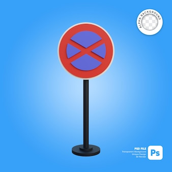 Traffic sign no parking or stopping anytime 3d simple object