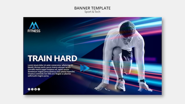 Train hard colorful banner template