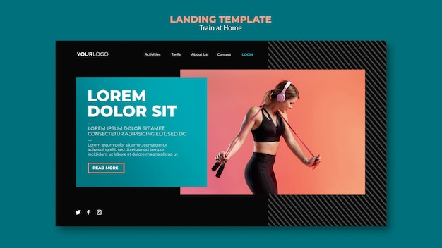Train at home concept landing page template
