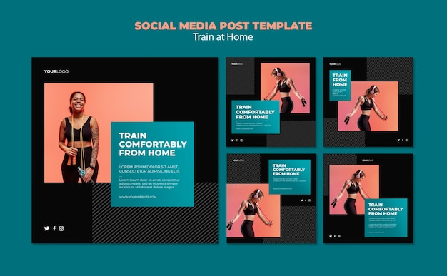 Train at home concept social media post template