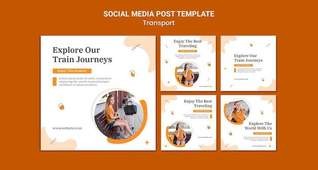기차 여행 소셜 미디어 게시물