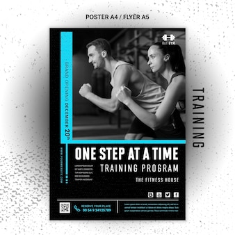 Training flyer template with photo