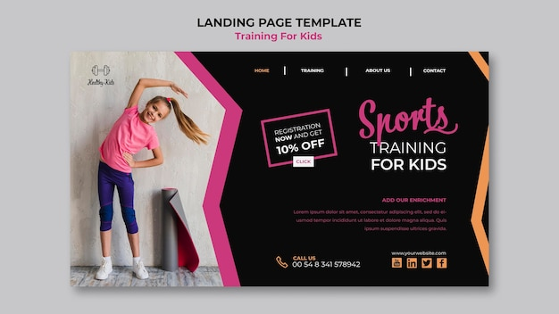 Training for kids landing page web template