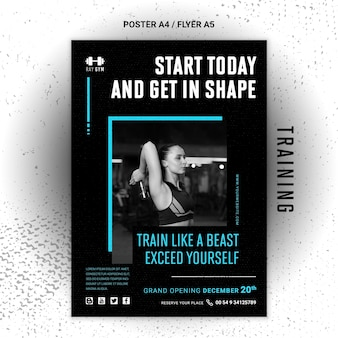 Training poster template with photo