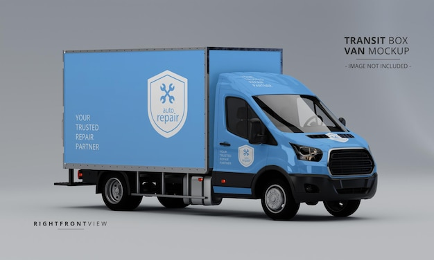 Transit box van mockup from right front view