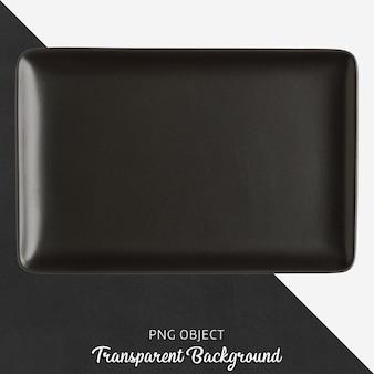 Transparent black ceramic or porcelain rectangle plate