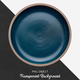 Transparent blue ceramic plate