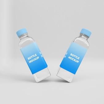 Transparent bottle 3d mockup template