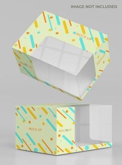 透明な箱の包装のモックアップ