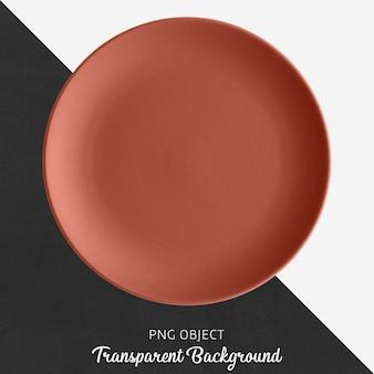 透明なレンガ色のセラミックまたは磁器の丸皿