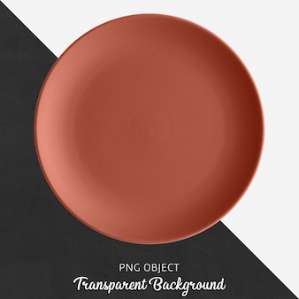 Transparent brick color ceramic or porcelain round plate