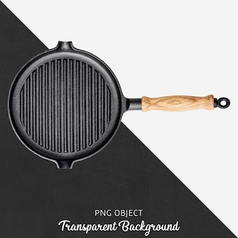Transparent casting grill pan with wooden handle