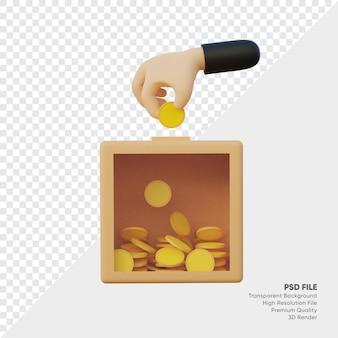투명한 자선 상자와 손은 상자에 동전을 넣습니다.