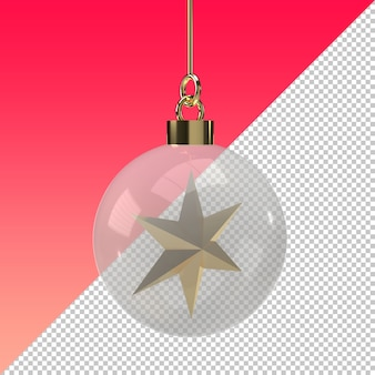 Transparent christmas ball with gold star isolated