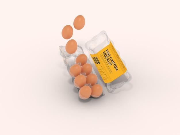 透明な卵ボックスのモックアップ