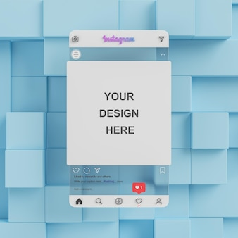 Прозрачное стекло instagram пост в социальных сетях макет презентации синий фон 3d визуализация