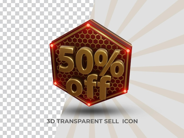 透明な金色の3d割引販売アイコン