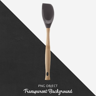 Transparent gray spatula with wooden handle