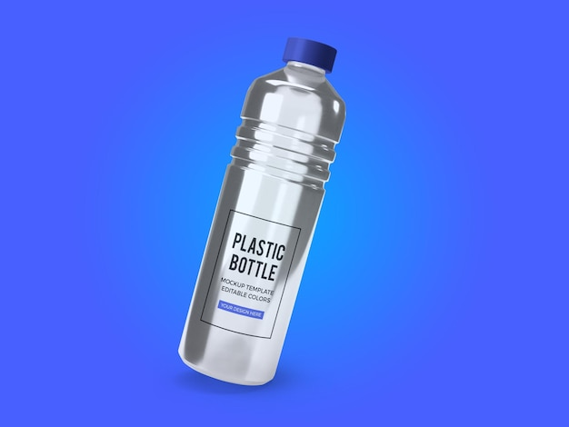 Transparent mineral water bottle mockup template isolated
