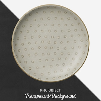 Transparent patterned, brown, ceramic or porcelain round plate