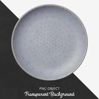 Transparent patterned, light blue, ceramic or porcelain round plate