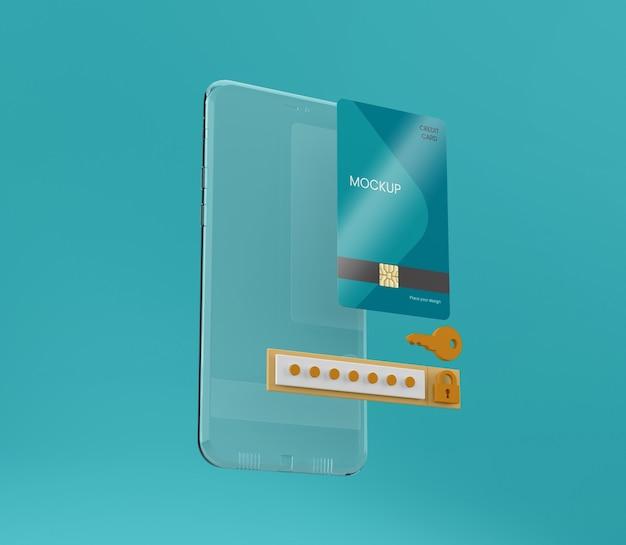 透明な電話とカードのモックアップ