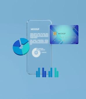 Mockup trasparente per telefono e carta
