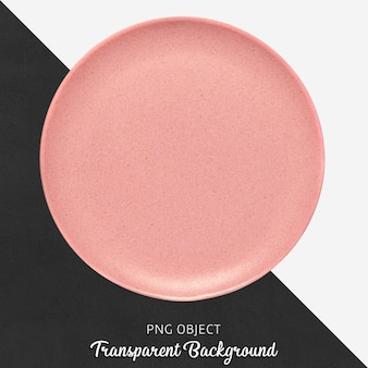 Transparent pink ceramic or porcelain round plate