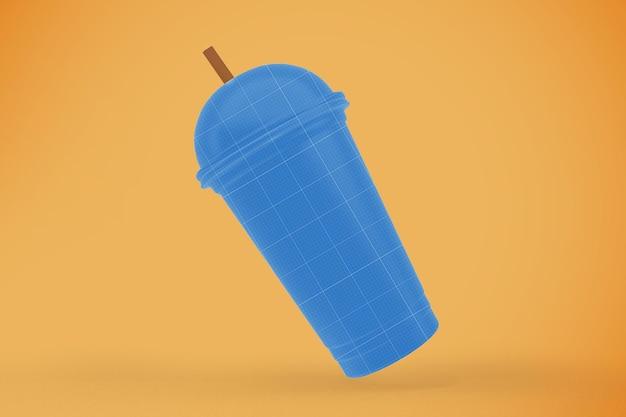 透明なプラスチックカップのモックアップ