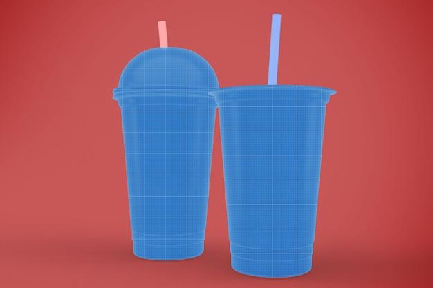 투명한 플라스틱 컵 모형