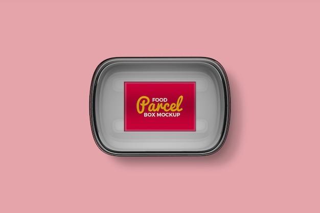 Transparent plastic food parcel box mockup