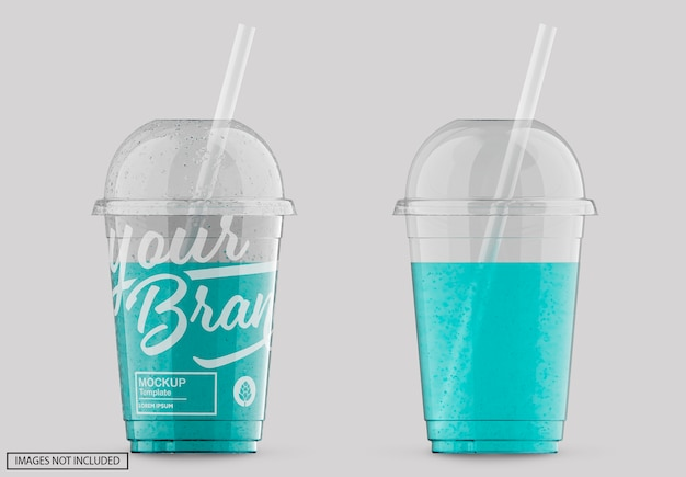 Transparent plastic soda cup lable mockup