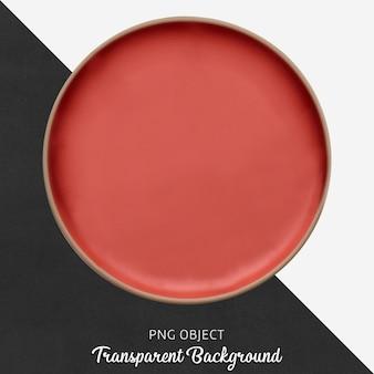 透明な赤いセラミックまたは磁器の丸皿